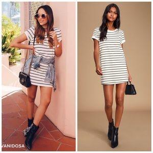 Lulus Cafe Society Striped Shirt Dress size M